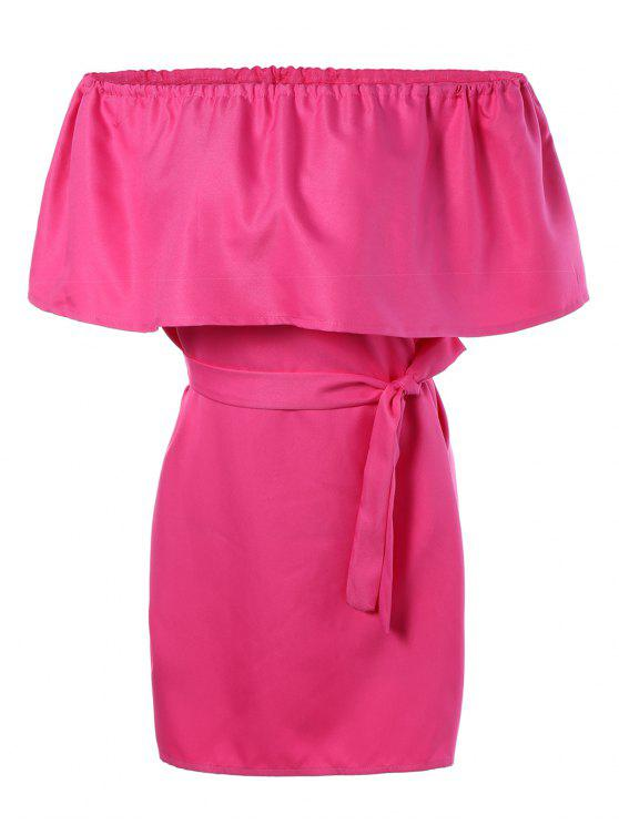 Del hombro del volante del mini vestido - Rosa Roja Única Talla