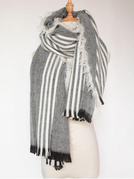 sale Stripe Fringed Shawl Wrap Scarf - BLACK