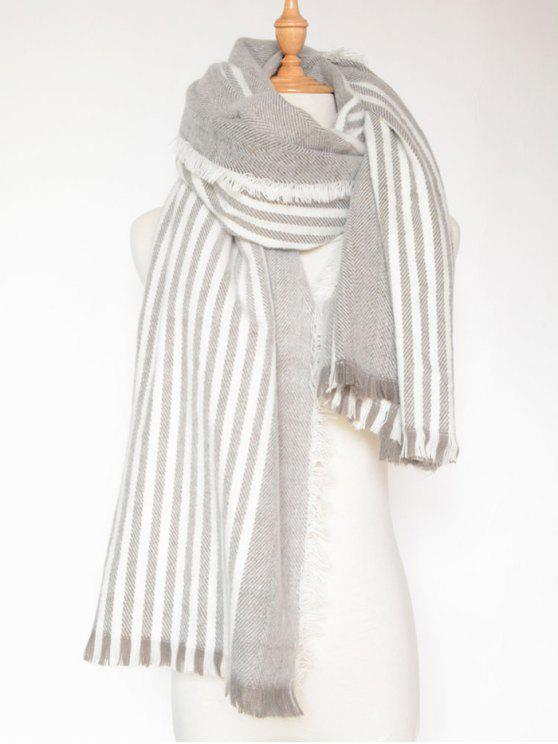 affordable Stripe Fringed Shawl Wrap Scarf - LIGHT GRAY