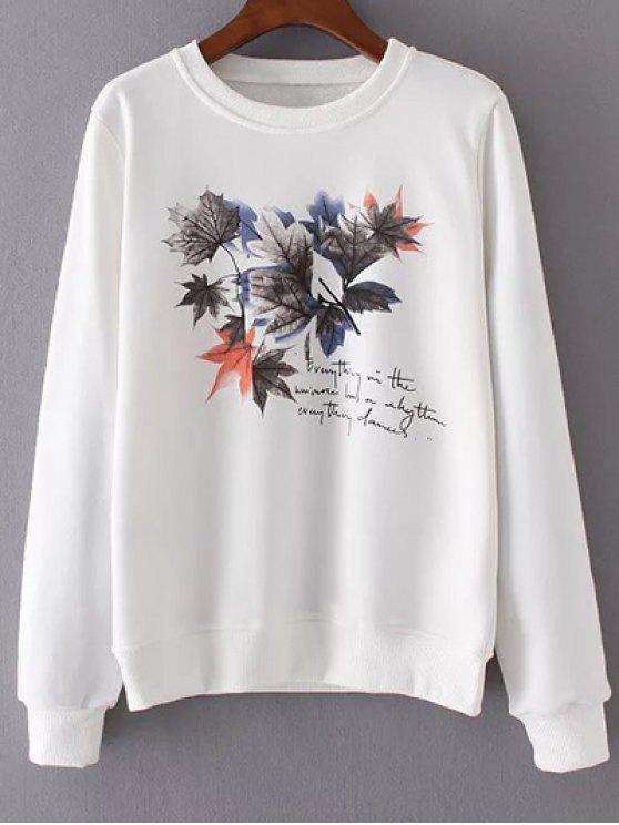 La hoja de arce cuello redondo de la camiseta de impresión - Blanco M