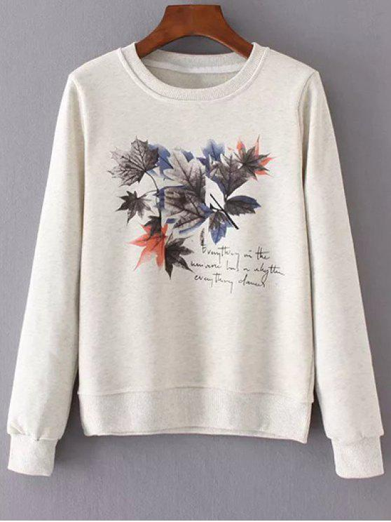 womens Round Neck Maple Leaf Print Sweatshirt - OFF-WHITE M