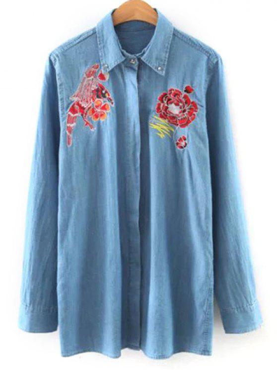 lady Shirt Neck Embroidered Denim Shirt - LIGHT BLUE L