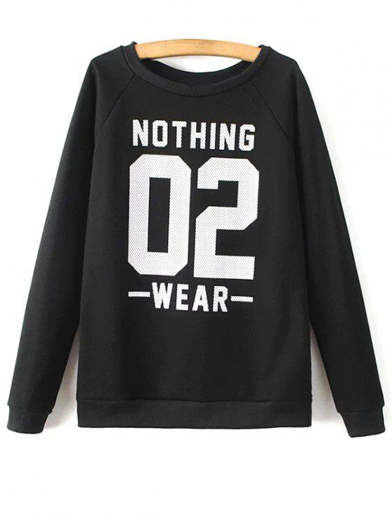 Round Neck Nombre Imprimer Sweatshirt - Noir M