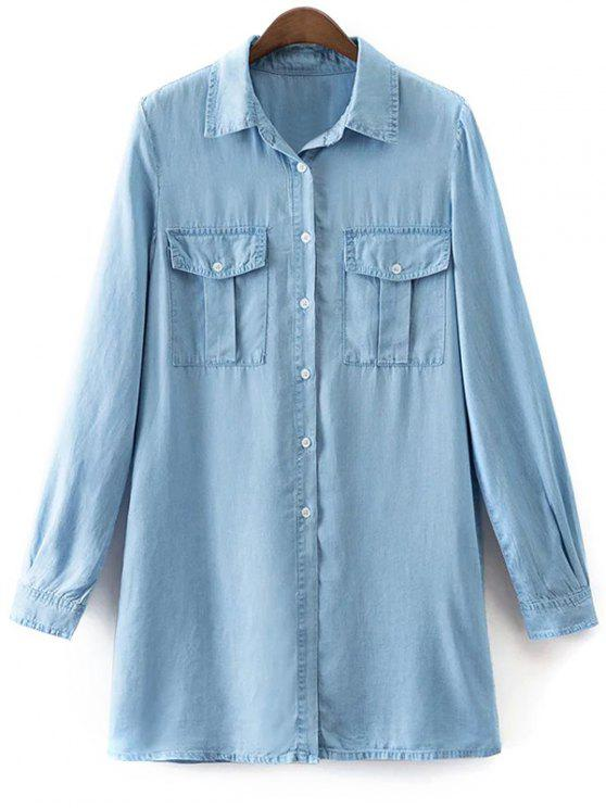 a1412699d32 62% OFF  2019 Pockets Long Sleeve Denim Shirt Dress In LIGHT BLUE ...