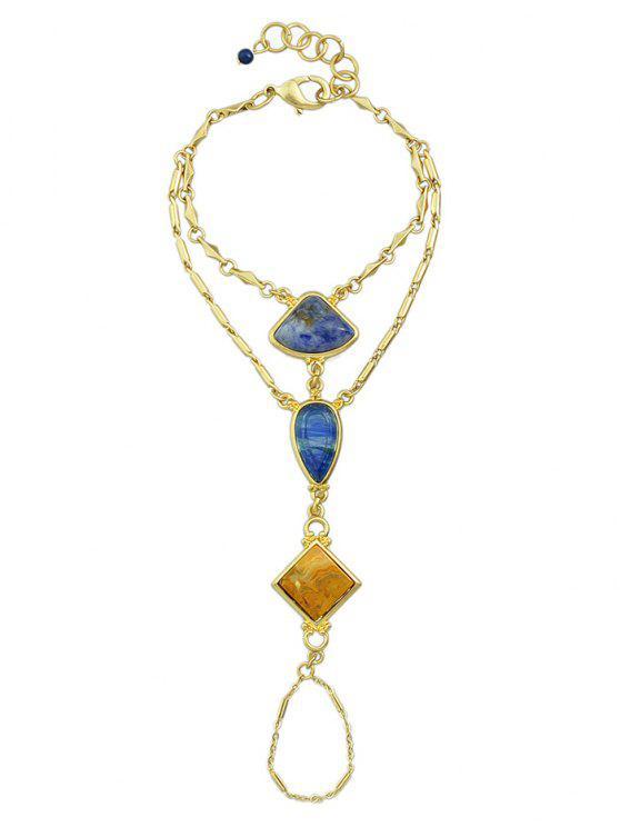 Pulsera de piedra geométrica de bricolaje sin procesar con el anillo - Dorado