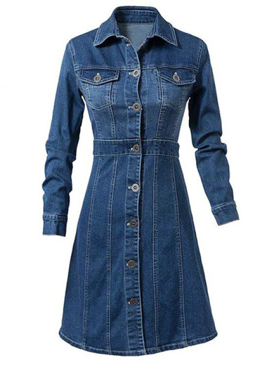 best Turn-Down Collar Single-Breasted Denim Dress - BLUE XL