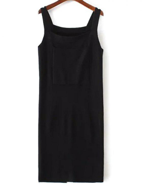 fashion Back Slit Front Pocket Tank Sweater Dress - BLACK ONE SIZE