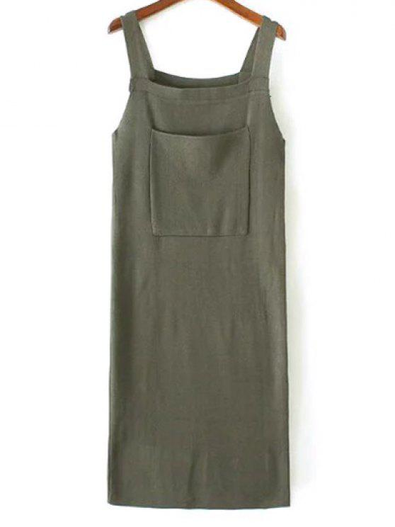 chic Back Slit Front Pocket Tank Sweater Dress - ARMY GREEN ONE SIZE