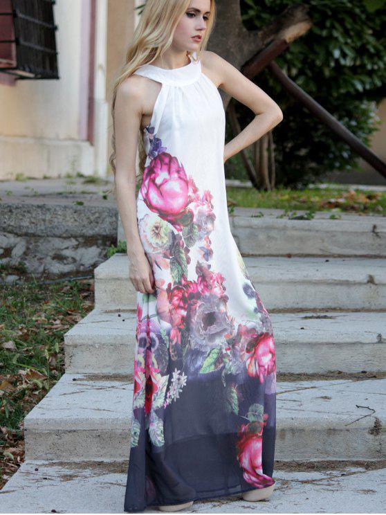 hot Floral Round Neck Sleeveless Maxi Dress - WHITE M