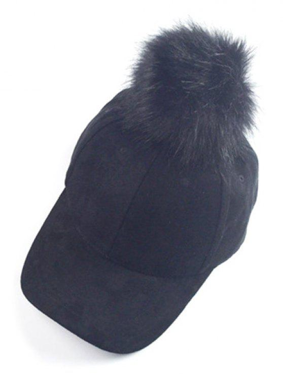 online Big Fuzzy Ball Faux Suede Baseball Hat - BLACK