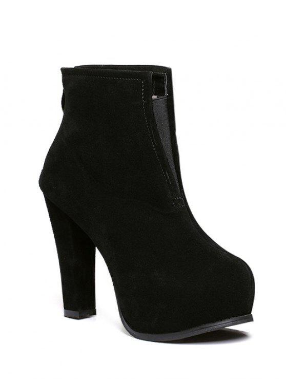 shop Elastic Band Platform Zipper Ankle Boots - BLACK 38