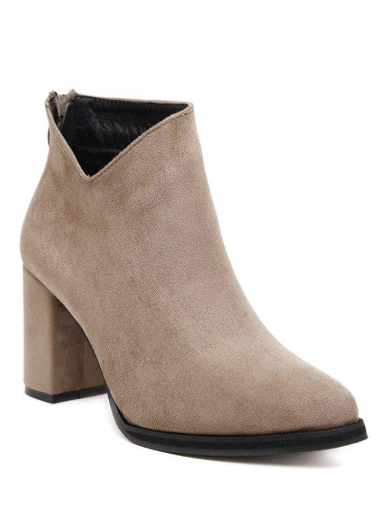 ladies Pointed Toe Chunky Heel Flock Ankle Boots - CAMEL 37