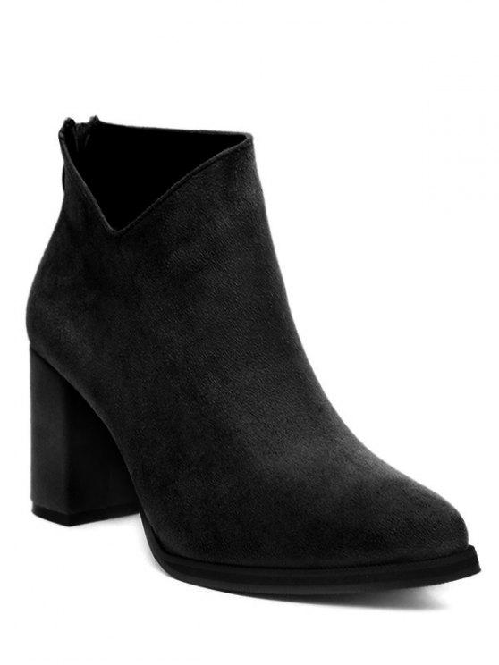 best Pointed Toe Chunky Heel Flock Ankle Boots - BLACK 39