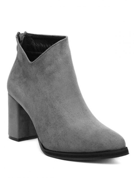 hot Pointed Toe Chunky Heel Flock Ankle Boots - GRAY 39