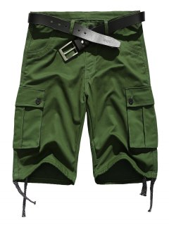 Zipper Fly Straight Leg Pockets Embellished Drawstring Design Shorts - Army Green S
