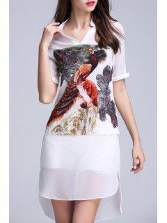 High Low Peacock Print Dress - White S