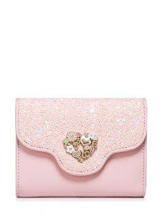 Floral Heart Sequins Small Wallet - Pink