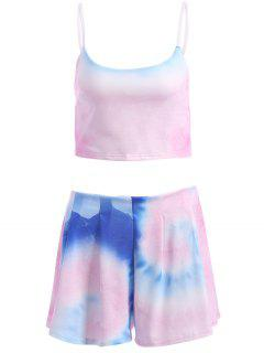Colored Cami Crop Top And Flouncy Shorts Swimsuit - S