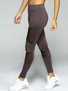 Mesh Panel Sport Leggings - Gray S