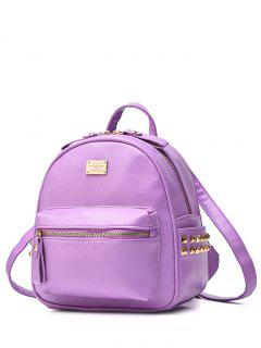 Metal Rivets Zippers PU Leather Backpack - Light Purple