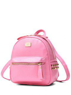 Metal Rivets Zippers PU Leather Backpack - Pink