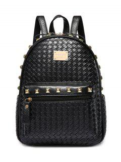 Woven Pattern Rivets Zippers Backpack - Black