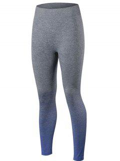 Gradient Color Sport Running Leggings - Blue M