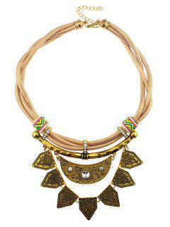 Faux Leather Rhinestone Moon Geometric Necklace - Yellow