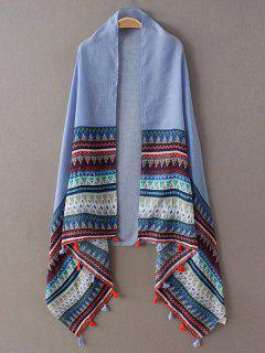 Triangle Stripe Tassel Pashmina - Blue