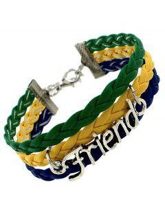 Faux Leather Flag Woven Friend Bracelet - Green