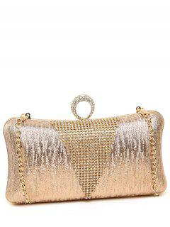 Rhinestone Ring Chains Evening Bag - Light Pink