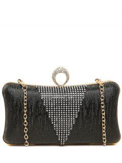 Rhinestone Ring Chains Evening Bag - Black
