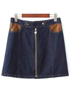 Zipper Denim Mini A Jupe - Bleu Violet S