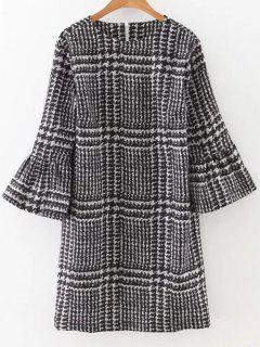 Bell Sleeve Houndstooth Dress - Black S