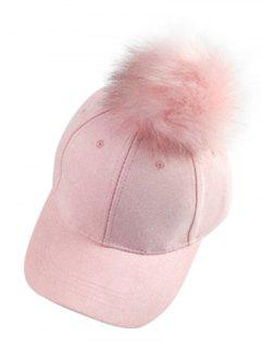 Big Fuzzy Ball Faux Suede Baseball Hat - Pink
