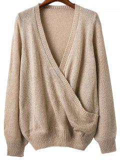 Plunging Neck Cross Front Sweater - Apricot