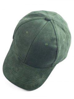 Brief Faux Suede Baseball Hat - Deep Green