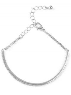 Alloy Rhinestone Half-Circle Chain Bracelet - Silver
