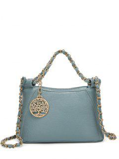 Chains Metal PU Leather Tote Bag - Blue