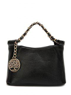 Chains Metal PU Leather Tote Bag - Black