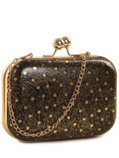 Kiss Lock  Chains Dot Evening Bag - Black