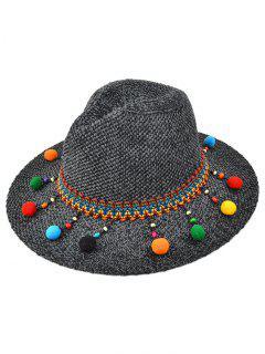 Small Pompon Pendant Knit Jazz Hat - Black Grey