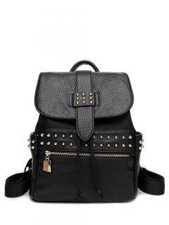 Drawstring Rivets Zipper Backpack - Black