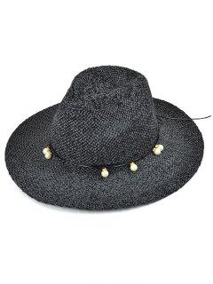 Faux Pearl Rope Knit Jazz Hat - Black Grey