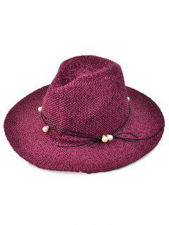 Faux Pearl Rope Knit Jazz Hat - Wine Red