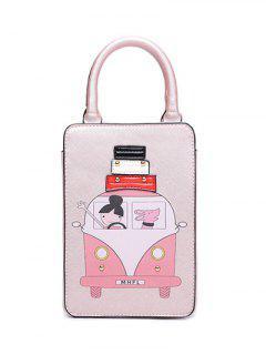 Cartoon Print Metal Tote Bag - Pink