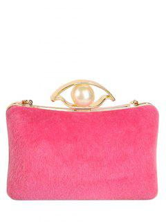 Faux Pearl Chain Metal Evening Bag - Rose Madder