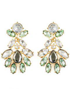 Artificial Crystal Oval Water Drop Earrings - Green