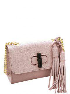 Chain Tassels PU Leather Crossbody Bag - Pink