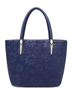 Daisy Pattern PU Leather Metal Shoulder Bag - Deep Blue
